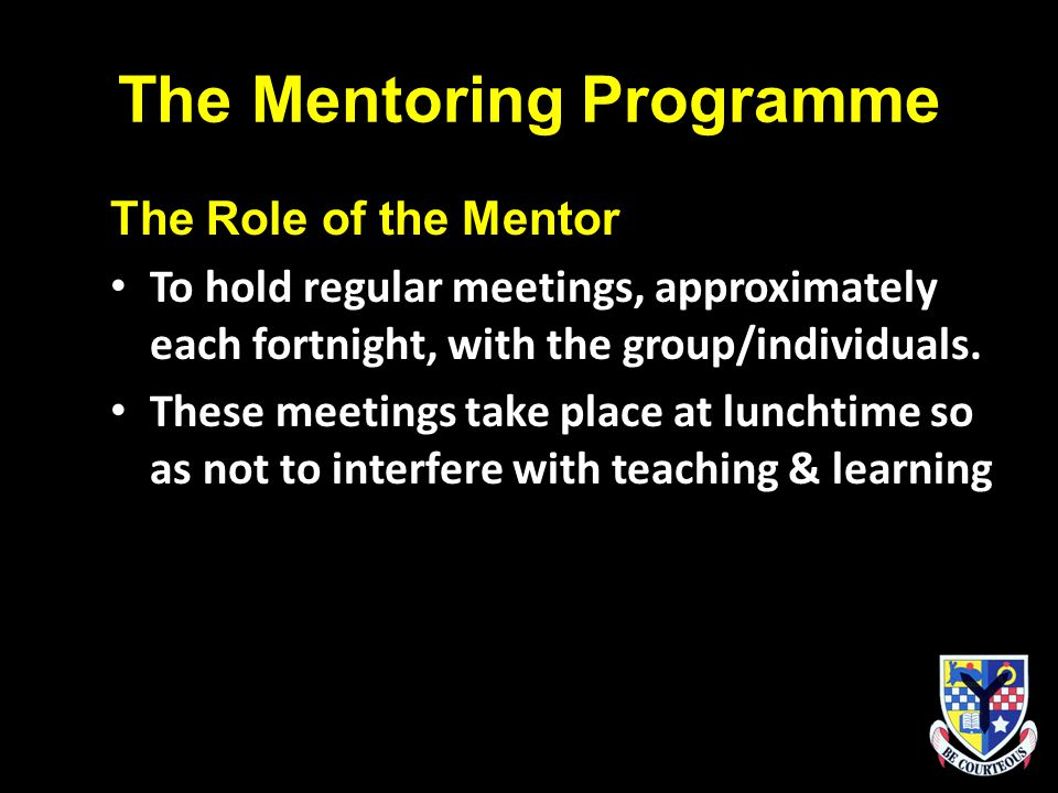 The Mentoring Programme The Role of the Mentor To hold regular meetings, approximately each fortnight, with the group/individuals.