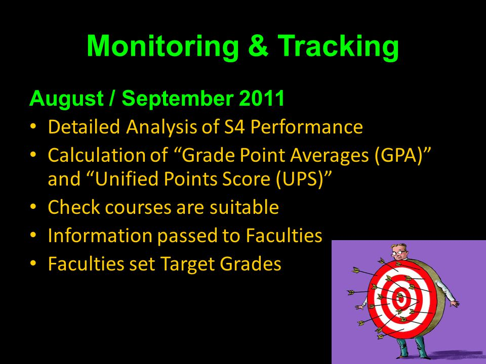 Monitoring & Tracking August / September 2011 Detailed Analysis of S4 Performance Calculation of Grade Point Averages (GPA) and Unified Points Score (UPS) Check courses are suitable Information passed to Faculties Faculties set Target Grades