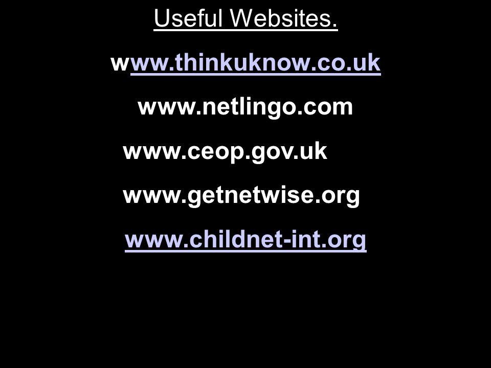 Useful Websites. www.thinkuknow.co.ukww.thinkuknow.co.uk www.netlingo.com www.ceop.gov.uk www.getnetwise.org www.childnet-int.org