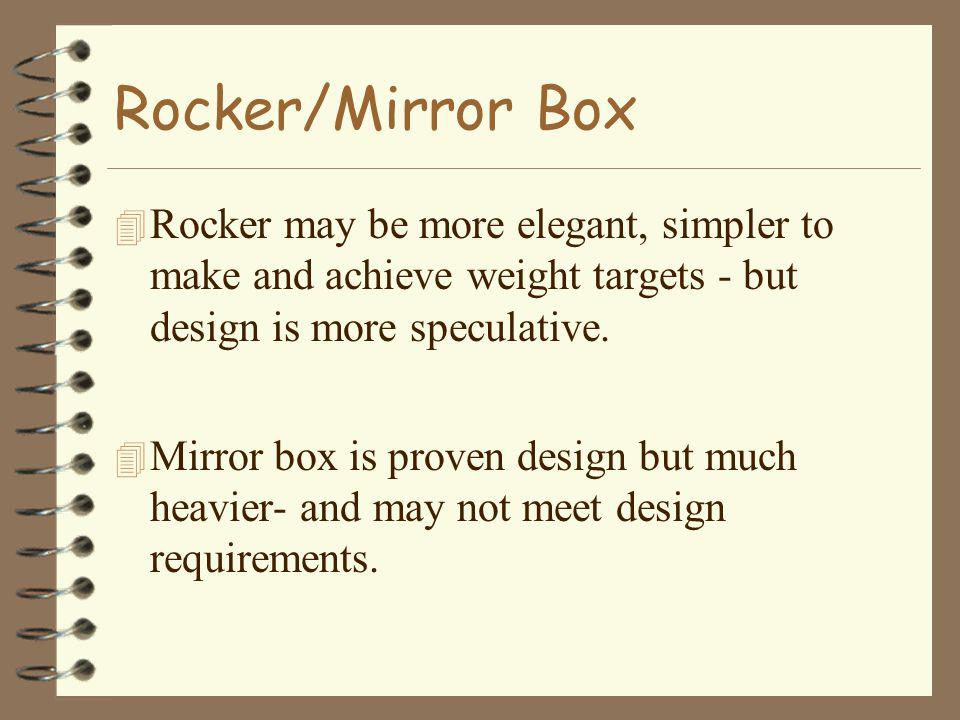 Rocker/Mirror Box 4 Rocker may be more elegant, simpler to make and achieve weight targets - but design is more speculative. 4 Mirror box is proven de