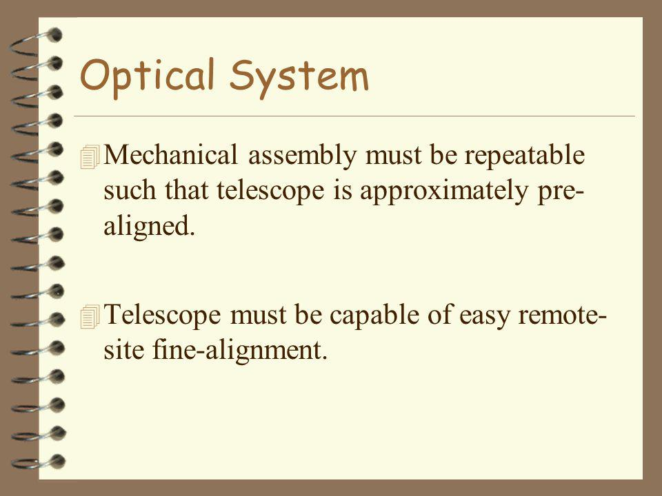 Optical System 4 Mechanical assembly must be repeatable such that telescope is approximately pre- aligned.