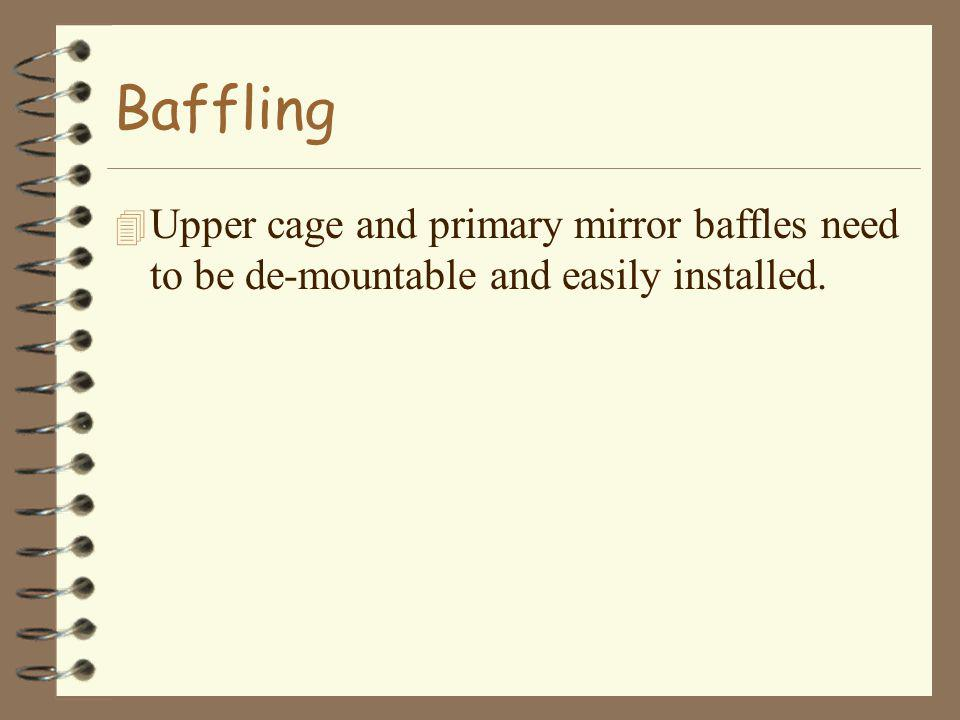 Baffling 4 Upper cage and primary mirror baffles need to be de-mountable and easily installed.