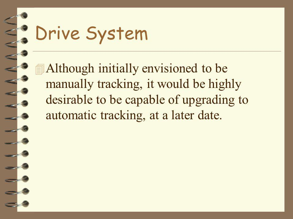 Drive System 4 Although initially envisioned to be manually tracking, it would be highly desirable to be capable of upgrading to automatic tracking, a