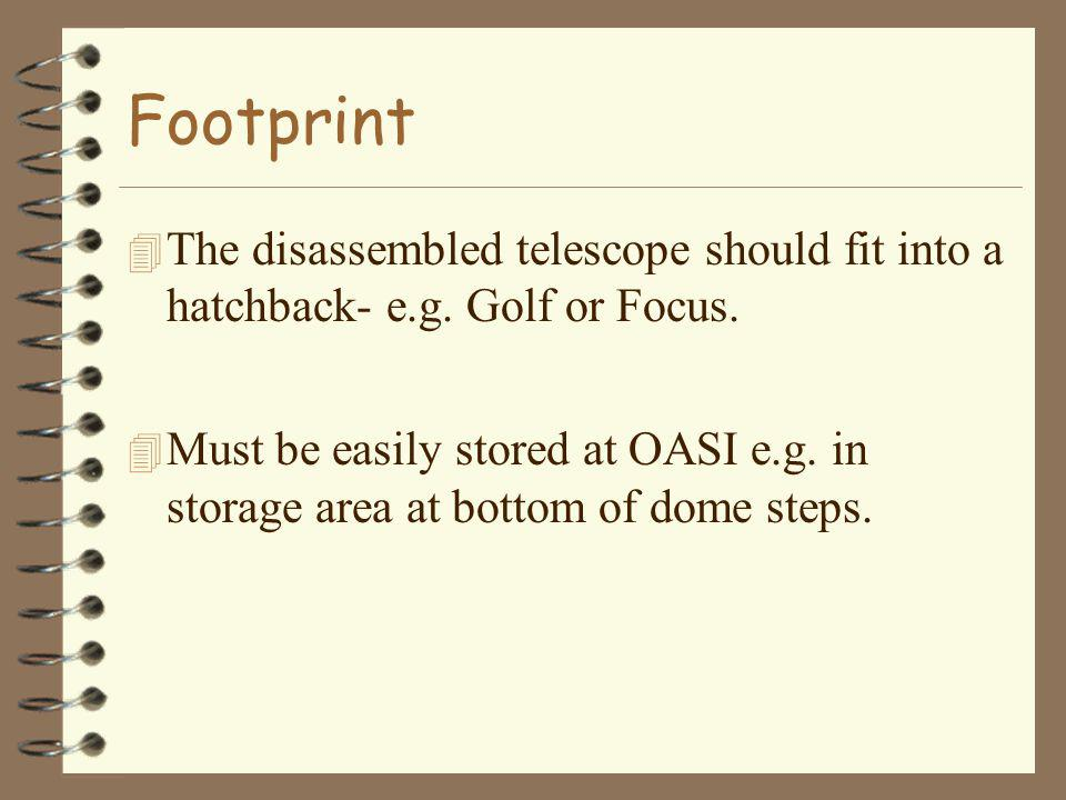 Footprint 4 The disassembled telescope should fit into a hatchback- e.g.
