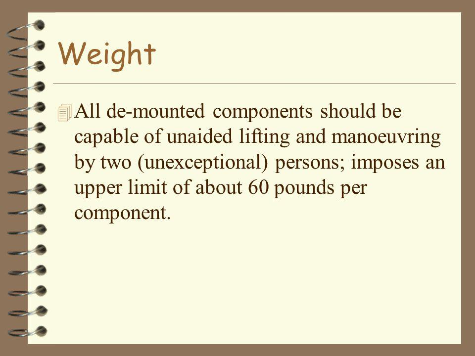 Weight 4 All de-mounted components should be capable of unaided lifting and manoeuvring by two (unexceptional) persons; imposes an upper limit of about 60 pounds per component.