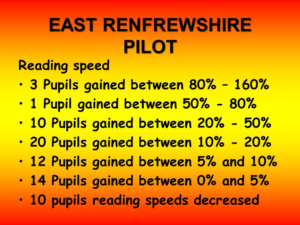 EAST RENFREWSHIRE PILOT Reading speed 3 Pupils gained between 80% – 160% 1 Pupil gained between 50% - 80% 10 Pupils gained between 20% - 50% 20 Pupils gained between 10% - 20% 12 Pupils gained between 5% and 10% 14 Pupils gained between 0% and 5% 10 pupils reading speeds decreased