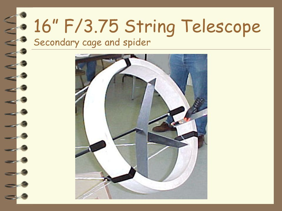 16 F/3.75 String Telescope Secondary cage and spider