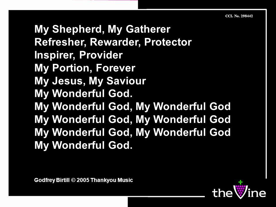 My Shepherd, My Gatherer Refresher, Rewarder, Protector Inspirer, Provider My Portion, Forever My Jesus, My Saviour My Wonderful God.