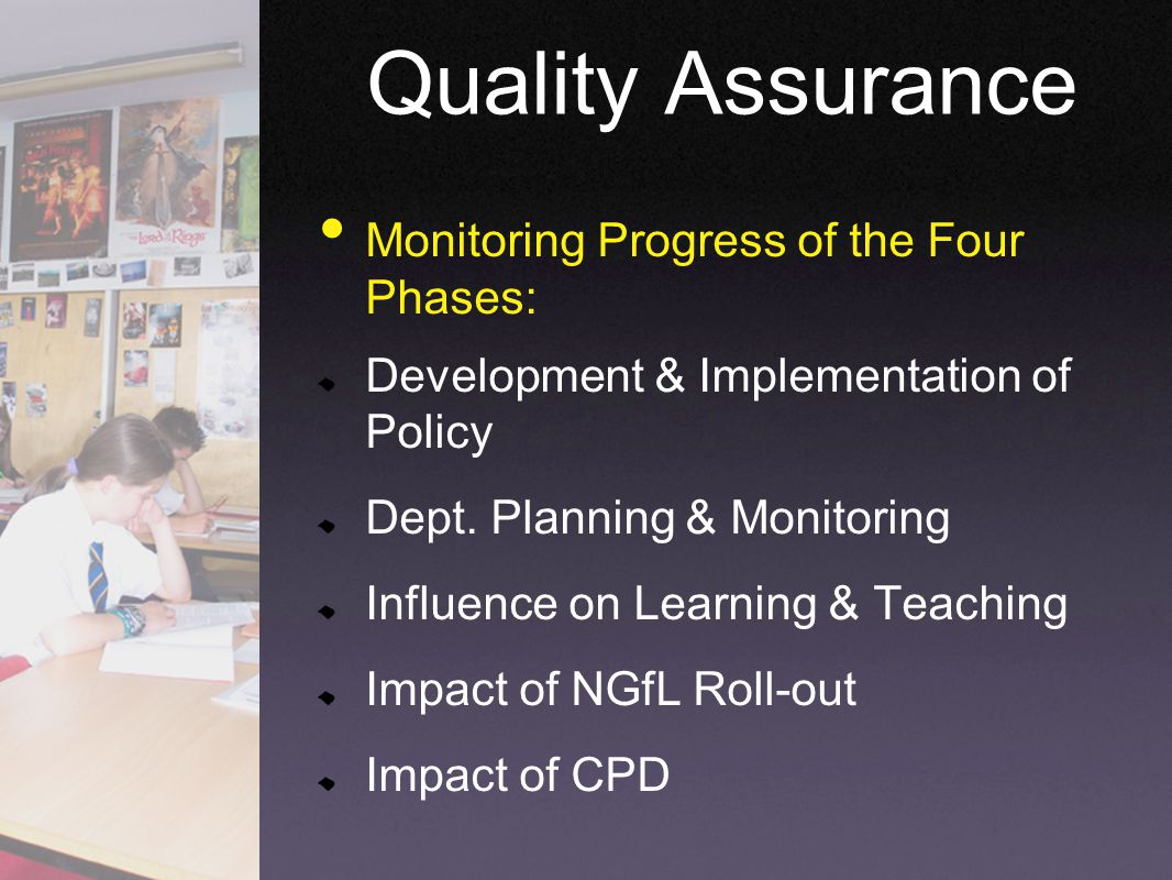 Monitoring Progress of the Four Phases: Development & Implementation of Policy Dept. Planning & Monitoring Influence on Learning & Teaching Impact of