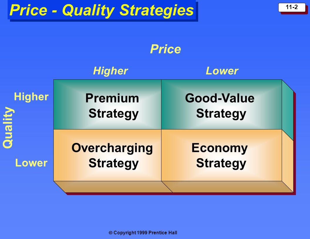  Copyright 1999 Prentice Hall 11-2 Price - Quality Strategies Premium Strategy Overcharging Strategy Overcharging Strategy Good-Value Strategy Good-