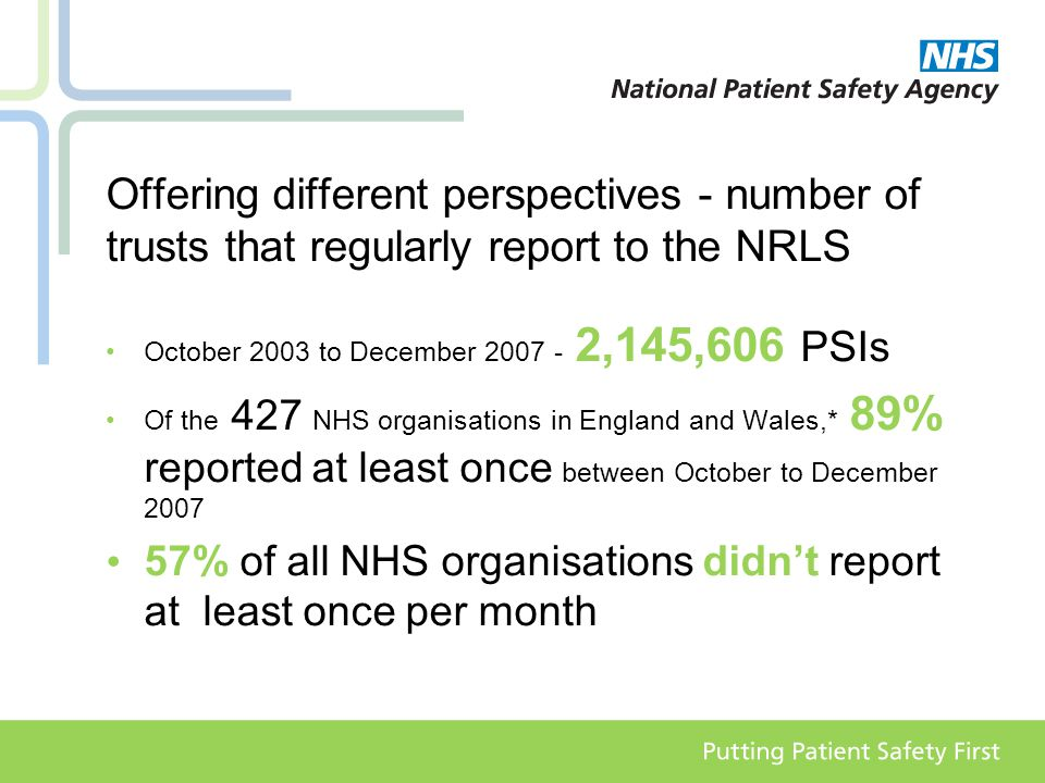 Offering different perspectives - number of trusts that regularly report to the NRLS October 2003 to December 2007 - 2,145,606 PSIs Of the 427 NHS organisations in England and Wales,* 89% reported at least once between October to December 2007 57% of all NHS organisations didn't report at least once per month
