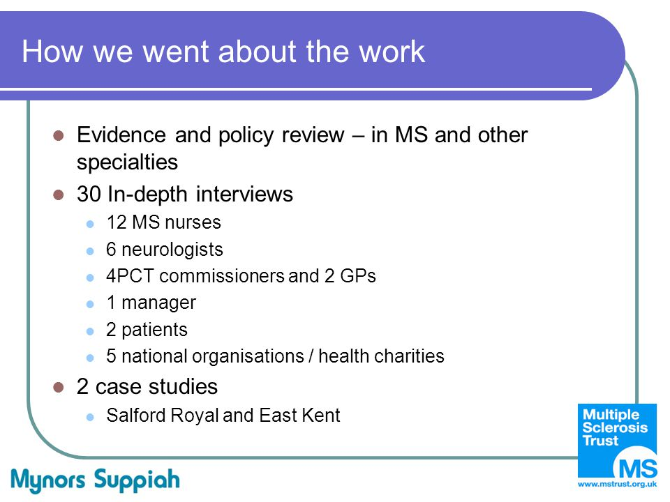How we went about the work Evidence and policy review – in MS and other specialties 30 In-depth interviews 12 MS nurses 6 neurologists 4PCT commissioners and 2 GPs 1 manager 2 patients 5 national organisations / health charities 2 case studies Salford Royal and East Kent