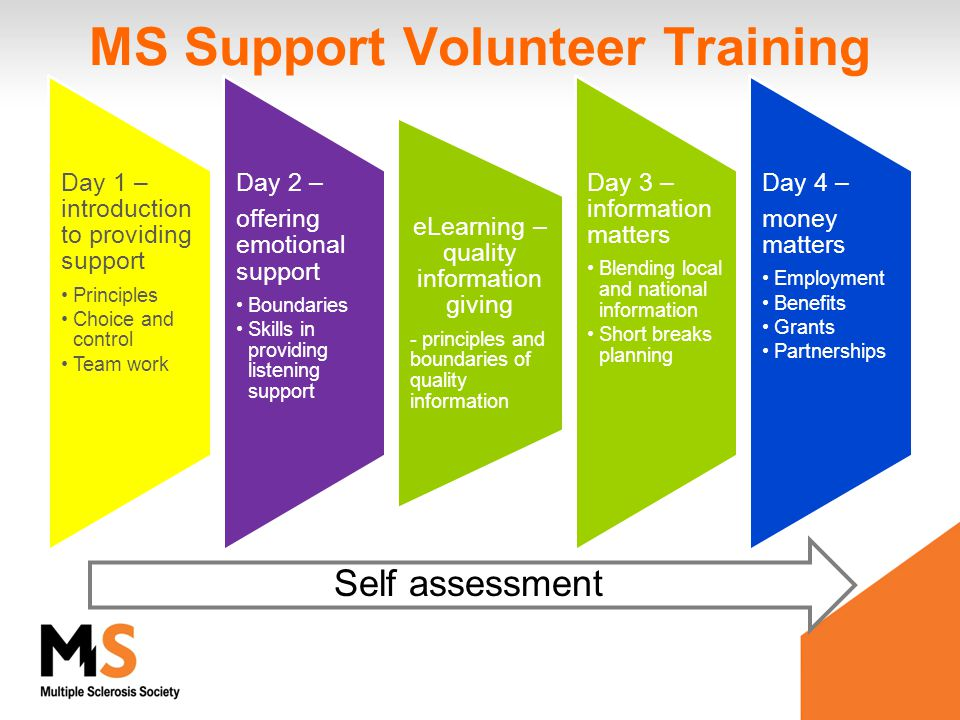 MS Support Volunteer Training Day 1 – introduction to providing support Principles Choice and control Team work Day 2 – offering emotion al support Bo