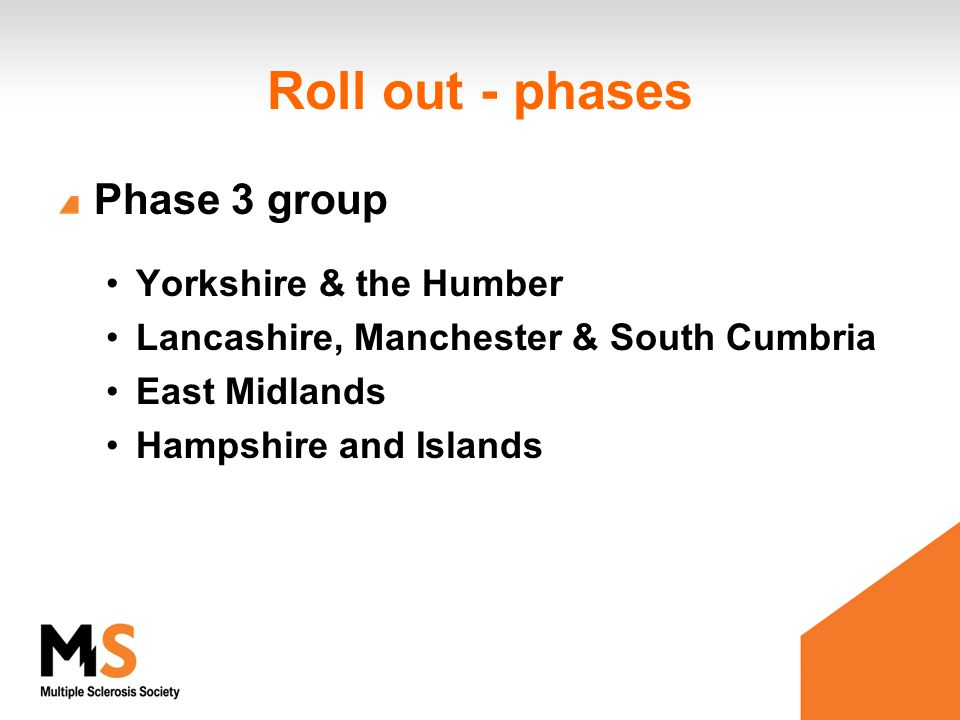 Roll out - phases Phase 3 group Yorkshire & the Humber Lancashire, Manchester & South Cumbria East Midlands Hampshire and Islands