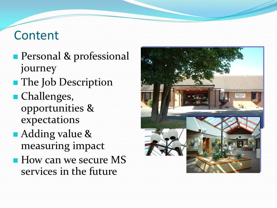 Content Personal & professional journey The Job Description Challenges, opportunities & expectations Adding value & measuring impact How can we secure MS services in the future