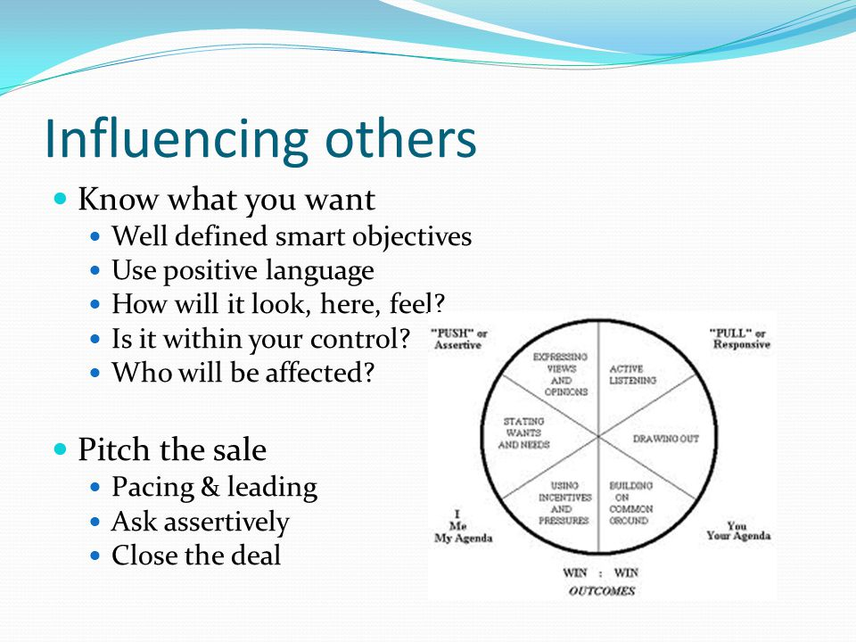 Influencing others Know what you want Well defined smart objectives Use positive language How will it look, here, feel.