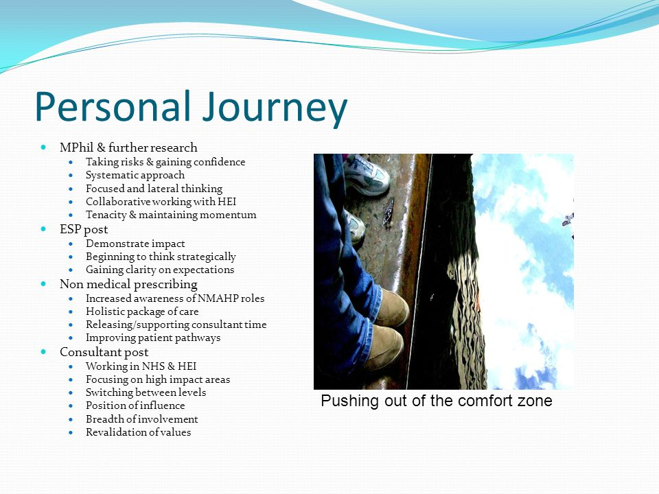 Personal Journey MPhil & further research Taking risks & gaining confidence Systematic approach Focused and lateral thinking Collaborative working with HEI Tenacity & maintaining momentum ESP post Demonstrate impact Beginning to think strategically Gaining clarity on expectations Non medical prescribing Increased awareness of NMAHP roles Holistic package of care Releasing/supporting consultant time Improving patient pathways Consultant post Working in NHS & HEI Focusing on high impact areas Switching between levels Position of influence Breadth of involvement Revalidation of values Pushing out of the comfort zone
