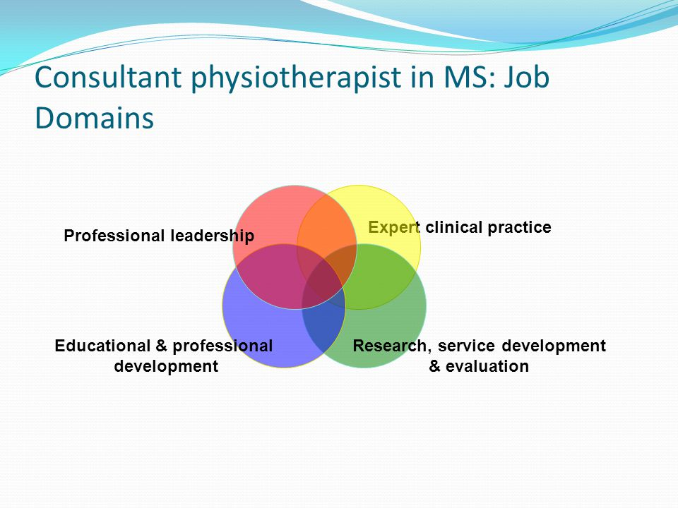 Consultant physiotherapist in MS: Job Domains Expert clinical practice Research, service development & evaluation Educational & professional development Professional leadership