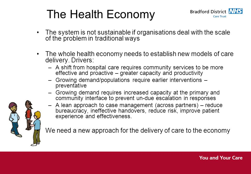 The Health Economy The system is not sustainable if organisations deal with the scale of the problem in traditional ways The whole health economy needs to establish new models of care delivery.