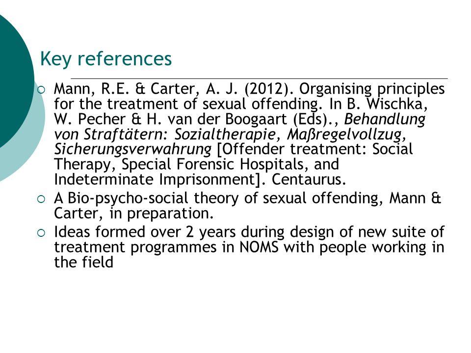 Key references  Mann, R.E. & Carter, A. J. (2012).