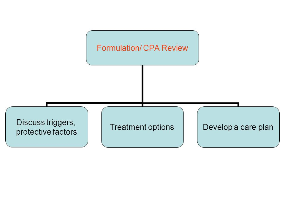 Formulation/ CPA Review Discuss triggers, protective factors Treatment options Develop a care plan