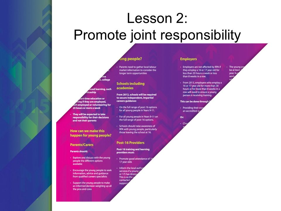 Lesson 2: Promote joint responsibility