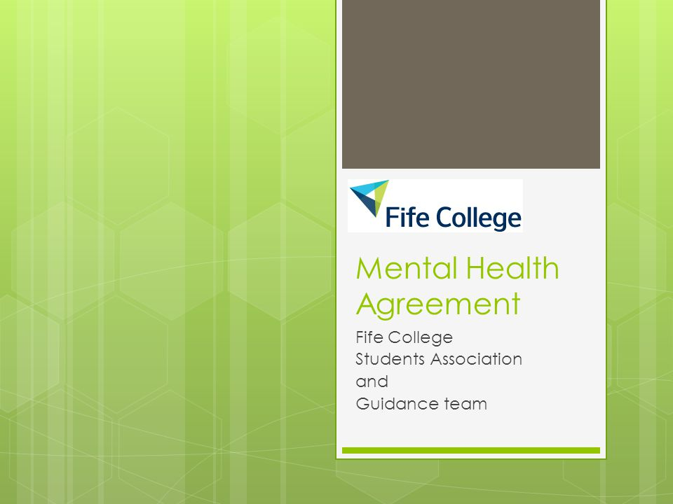 Mental Health Agreement Fife College Students Association and Guidance team