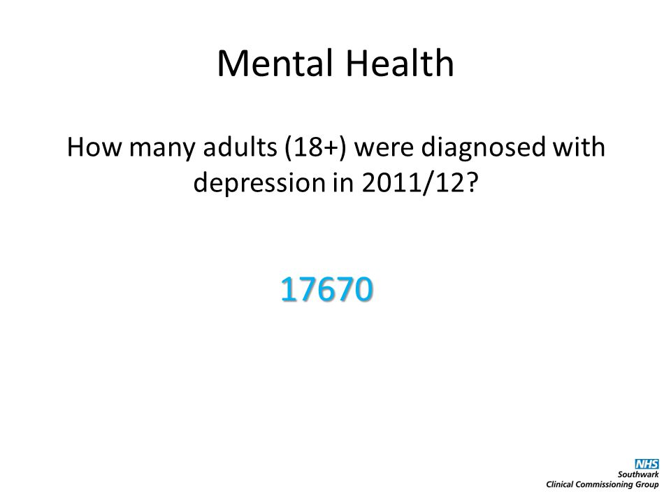 Mental Health How many adults (18+) were diagnosed with depression in 2011/12 17670