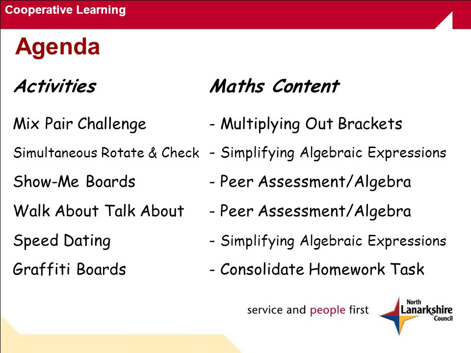 Cooperative Learning Agenda ActivitiesMaths Content Mix Pair Challenge- Multiplying Out Brackets Simultaneous Rotate & Check - Simplifying Algebraic Expressions Show-Me Boards- Peer Assessment/Algebra Walk About Talk About- Peer Assessment/Algebra Speed Dating- Simplifying Algebraic Expressions Graffiti Boards- Consolidate Homework Task