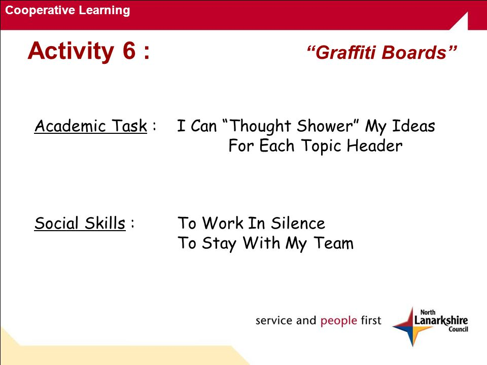 Cooperative Learning Academic Task : I Can Thought Shower My Ideas For Each Topic Header Social Skills :To Work In Silence To Stay With My Team Activity 6 : Graffiti Boards