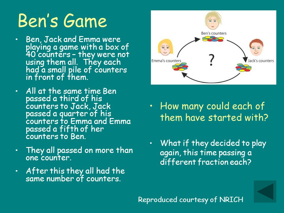 Ben's Game Ben, Jack and Emma were playing a game with a box of 40 counters – they were not using them all.