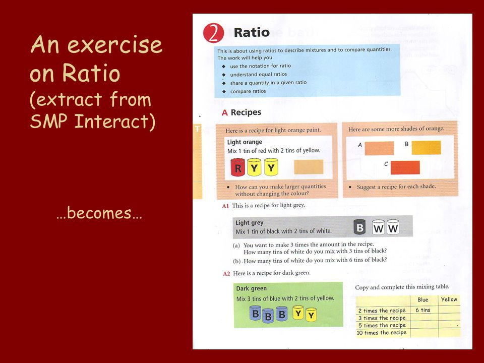 An exercise on Ratio (extract from SMP Interact) …becomes…