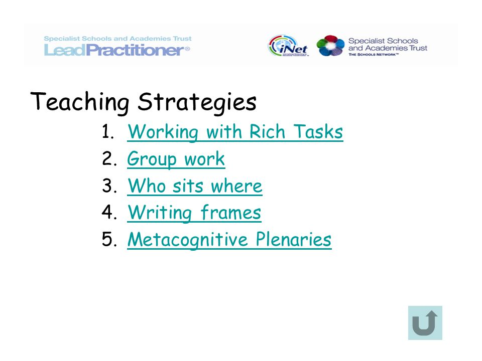 Teaching Strategies 1. Working with Rich TasksWorking with Rich Tasks 2.
