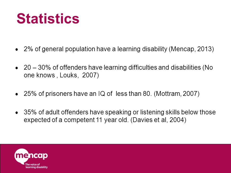 Statistics  2% of general population have a learning disability (Mencap, 2013)  20 – 30% of offenders have learning difficulties and disabilities (No one knows, Louks, 2007)  25% of prisoners have an IQ of less than 80.