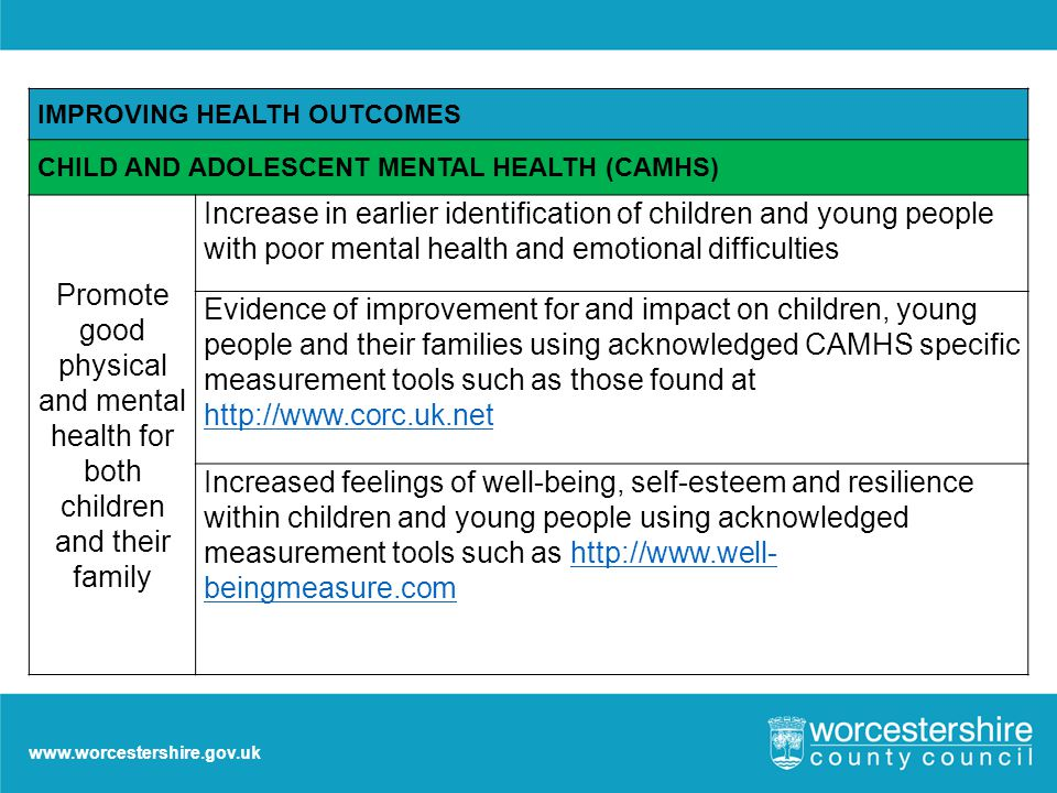 www.worcestershire.gov.uk IMPROVING HEALTH OUTCOMES CHILD AND ADOLESCENT MENTAL HEALTH (CAMHS) Promote good physical and mental health for both children and their family Increase in earlier identification of children and young people with poor mental health and emotional difficulties Evidence of improvement for and impact on children, young people and their families using acknowledged CAMHS specific measurement tools such as those found at http://www.corc.uk.net http://www.corc.uk.net Increased feelings of well-being, self-esteem and resilience within children and young people using acknowledged measurement tools such as http://www.well- beingmeasure.comhttp://www.well- beingmeasure.com