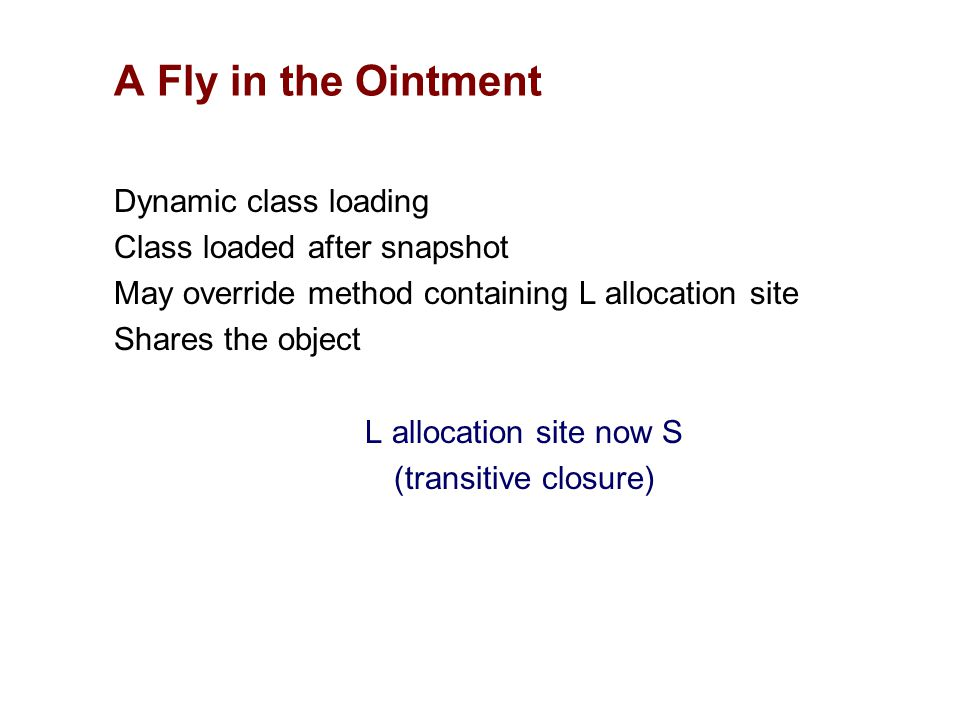 Dynamic class loading Class loaded after snapshot May override method containing L allocation site Shares the object L allocation site now S (transiti