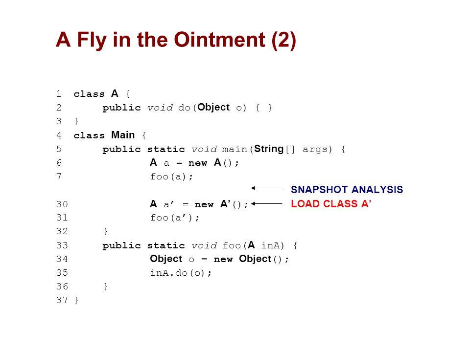 1class A { 2public void do( Object o) { } 3} 4class Main { 5public static void main( String [] args) { 6 A a = new A (); 7 foo(a); SNAPSHOT ANALYSIS 3