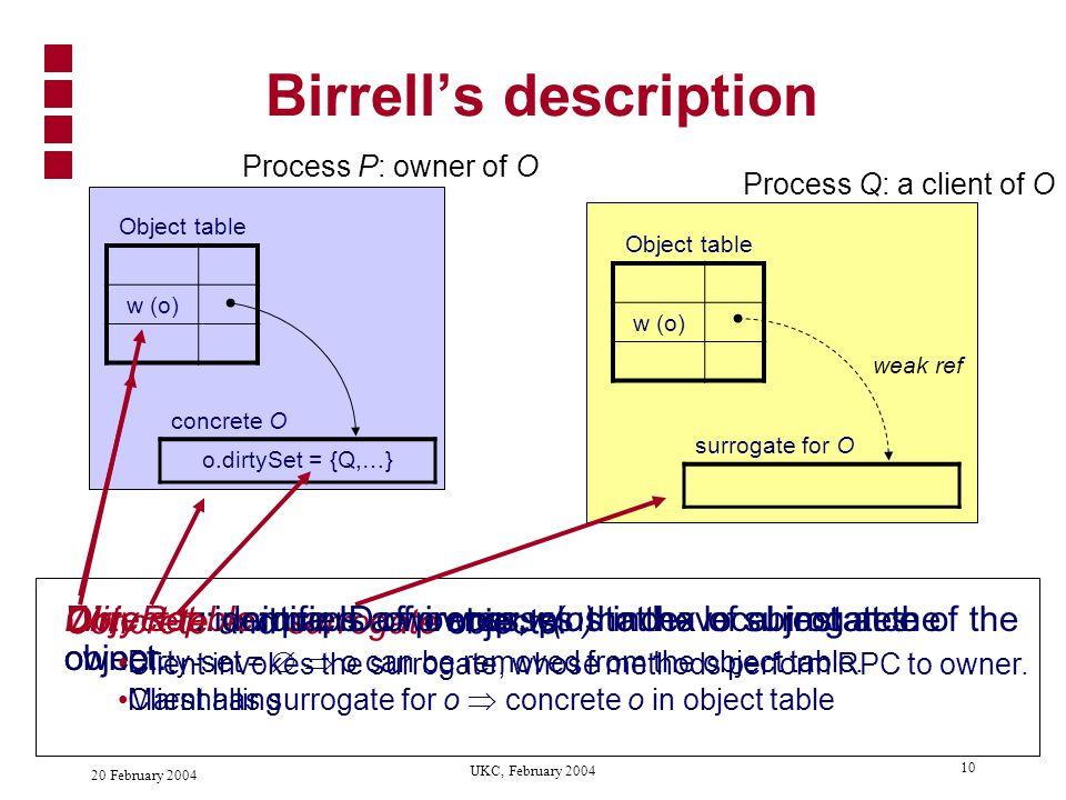 20 February 2004 UKC, February 2004 9 Birrell's algorithm Birrell, Evers, Nelson, Owicki, and Wobber.