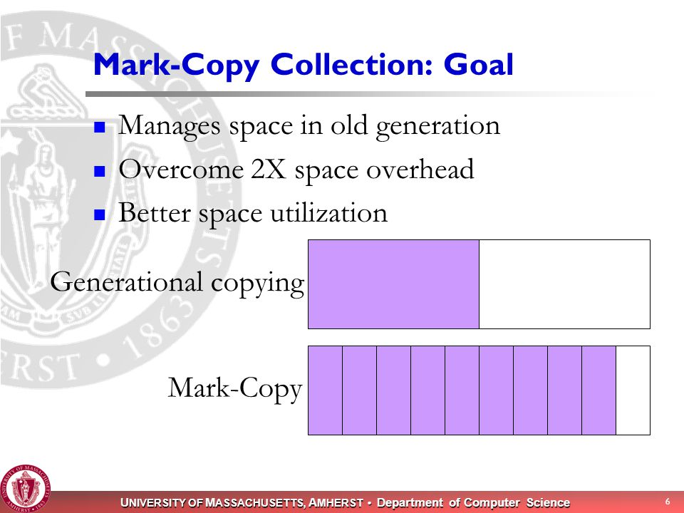 U NIVERSITY OF M ASSACHUSETTS, A MHERST Department of Computer Science 6 Mark-Copy Collection: Goal Manages space in old generation Overcome 2X space