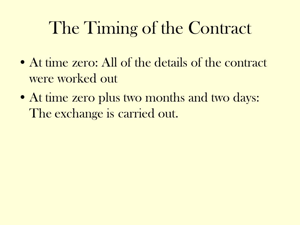 The Timing of the Contract At time zero: All of the details of the contract were worked out At time zero plus two months and two days: The exchange is carried out.