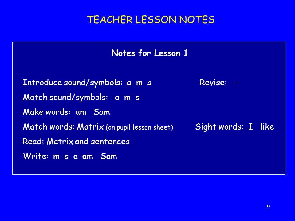 9 TEACHER LESSON NOTES Notes for Lesson 1 Introduce sound/symbols: a m sRevise: - Match sound/symbols: a m s Make words: am Sam Match words: Matrix (o