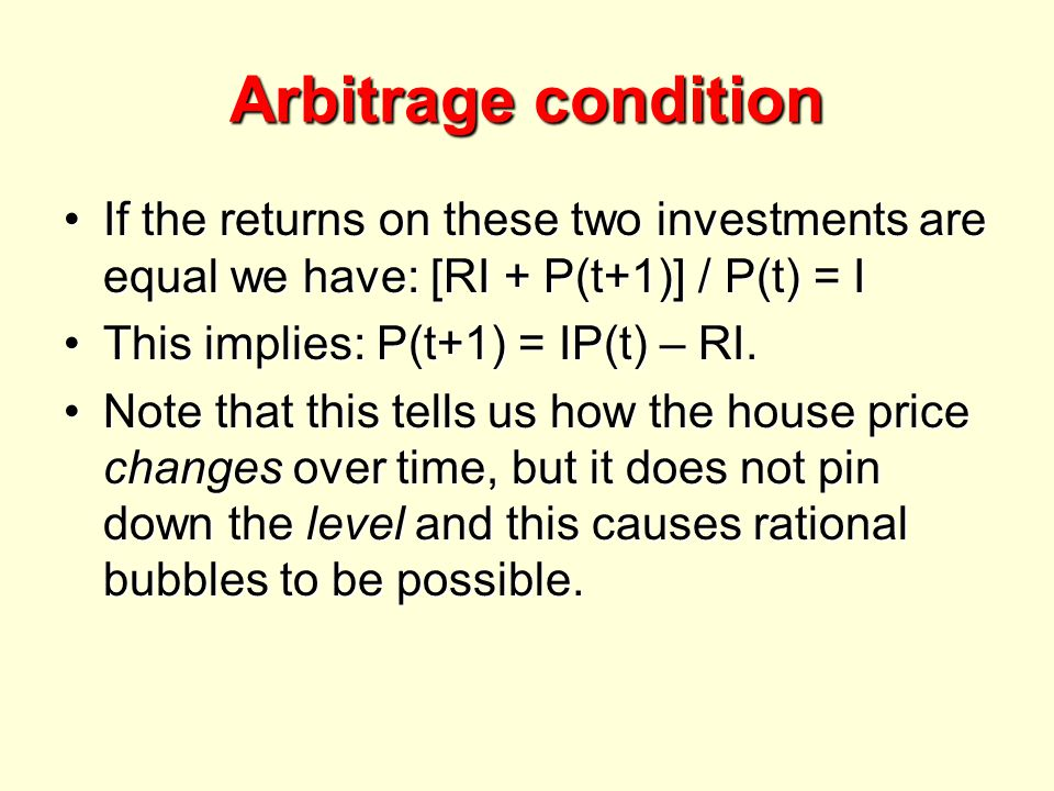 Arbitrage condition If the returns on these two investments are equal we have: [RI + P(t+1)] / P(t) = IIf the returns on these two investments are equal we have: [RI + P(t+1)] / P(t) = I This implies: P(t+1) = IP(t) – RI.This implies: P(t+1) = IP(t) – RI.