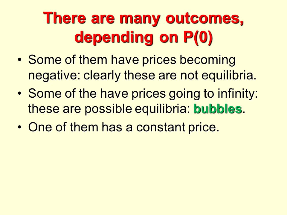 There are many outcomes, depending on P(0) Some of them have prices becoming negative: clearly these are not equilibria.Some of them have prices becoming negative: clearly these are not equilibria.