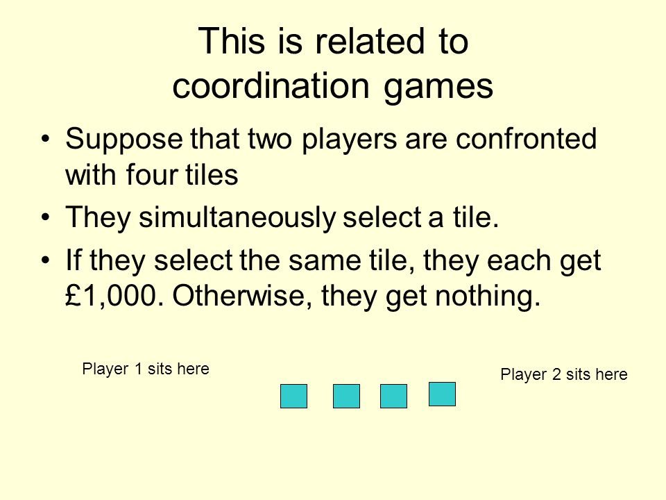 This is related to coordination games Suppose that two players are confronted with four tiles They simultaneously select a tile. If they select the sa