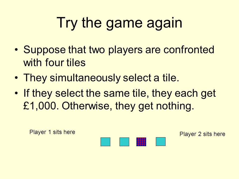 Try the game again Suppose that two players are confronted with four tiles They simultaneously select a tile.