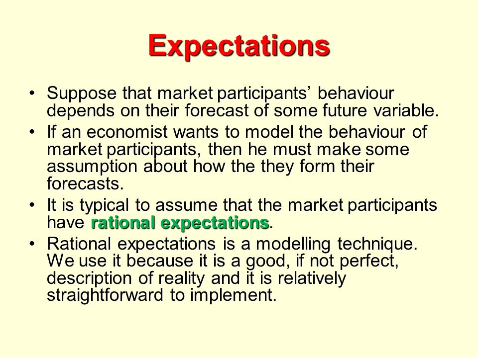 Expectations Suppose that market participants' behaviour depends on their forecast of some future variable.Suppose that market participants' behaviour