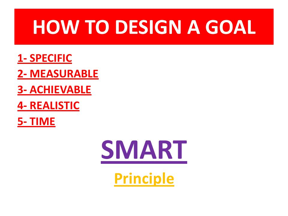 HOW TO DESIGN A GOAL 1- SPECIFIC 2- MEASURABLE 3- ACHIEVABLE 4- REALISTIC 5- TIME SMART Principle