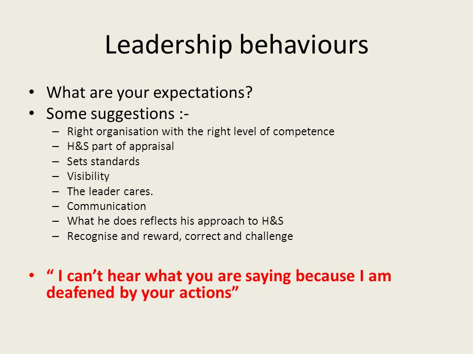 Leadership behaviours What are your expectations? Some suggestions :- – Right organisation with the right level of competence – H&S part of appraisal