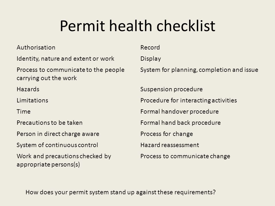 Permit health checklist AuthorisationRecord Identity, nature and extent or workDisplay Process to communicate to the people carrying out the work Syst