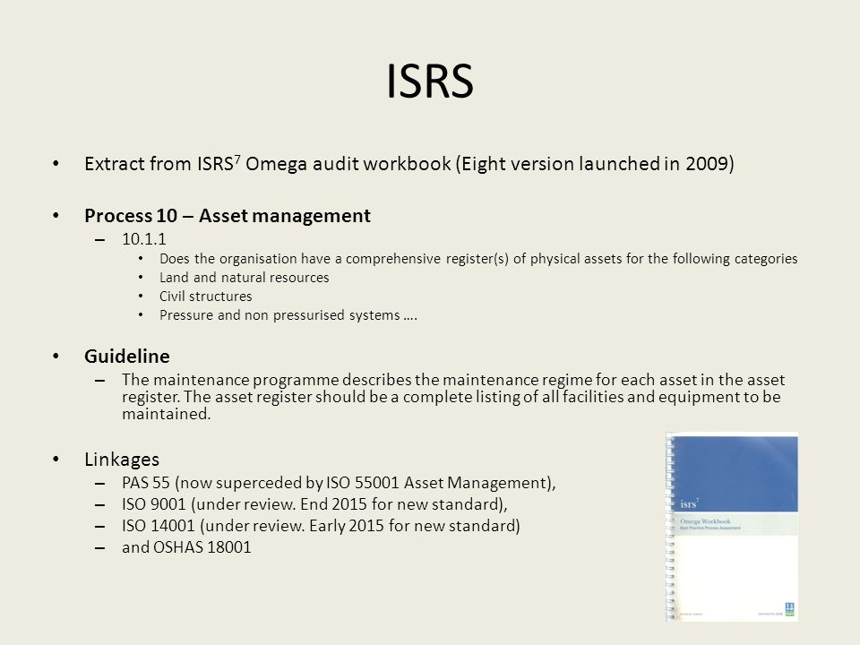 ISRS Book of knowledge The ISRS Book of Knowledge is an evolving web resource to support the implementation of safety and sustainability management systems using ISRS 1.8.